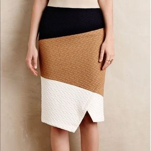 Anthropologie Colorblocked Knit Pencil Skirt Sz 2